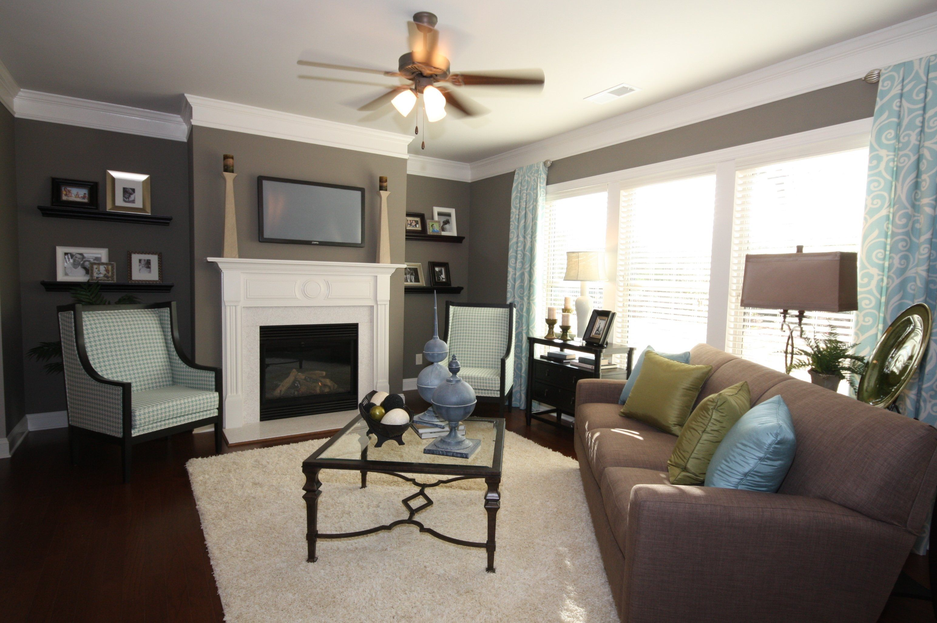 Blue, Brown, Grey Color Scheme In The Family Room