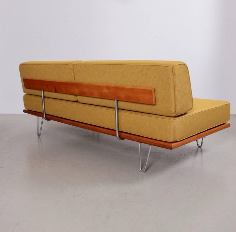 Early Signed George Nelson Pinleg Daybed New Upholstered For