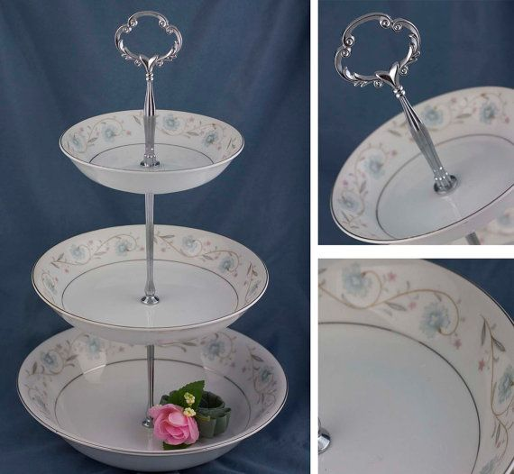 Three Tier Blue Floral Serving Stand 3 Tiered Cake By Simplychina Serving Stand Tiered Cake Stands Vintage Cake Stands