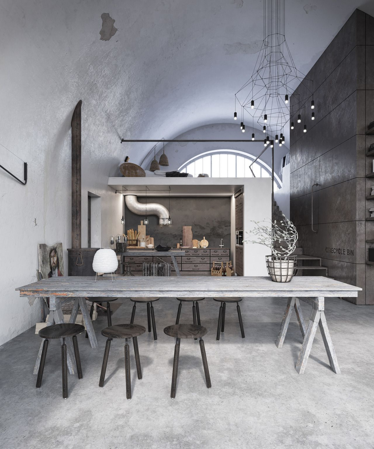 Grey industrial chicago loft grey industrial chicago loft style deco modern interior design