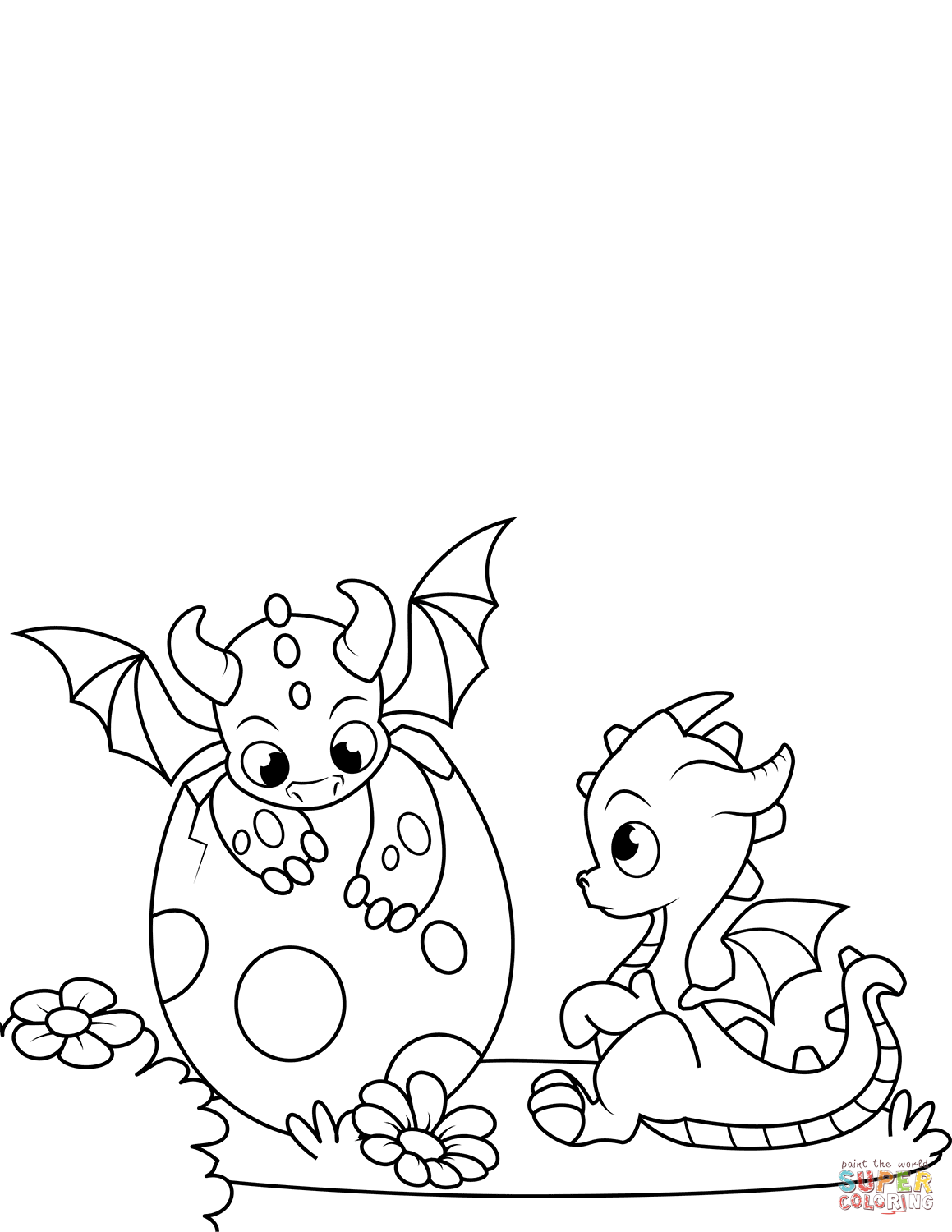 Newly Hatched Dragons Coloring Page Free Printable Coloring Pages Bunny Coloring Pages Cartoon Coloring Pages Dragon Coloring Page