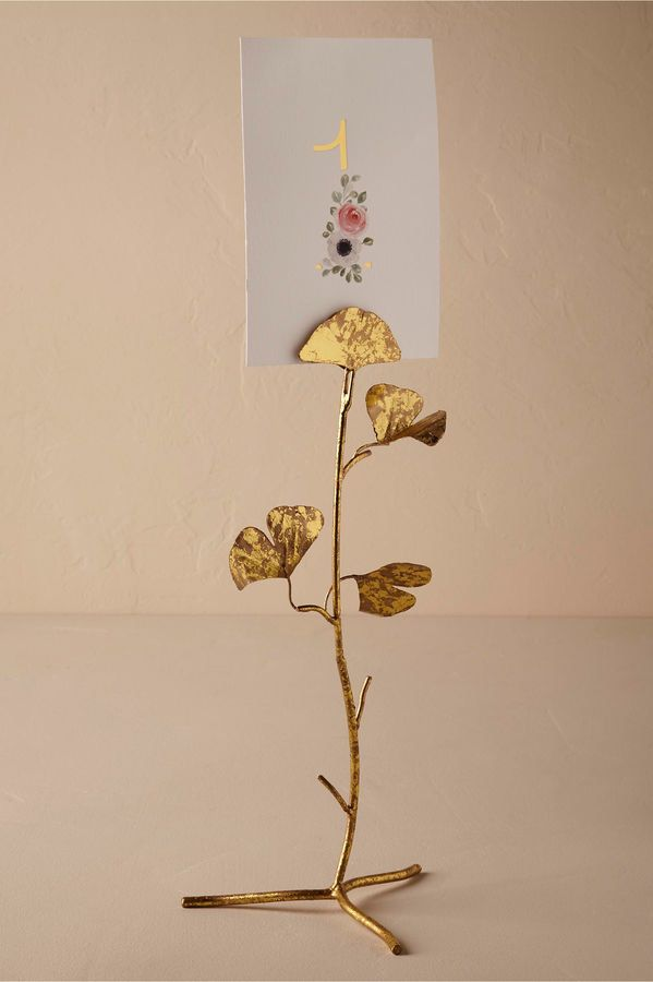 Gold Floral Table Number Or Place Card Holder Bhldn Wedding Tablescapes Leaf Cards Gold Place Card Holder Floral Table Numbers