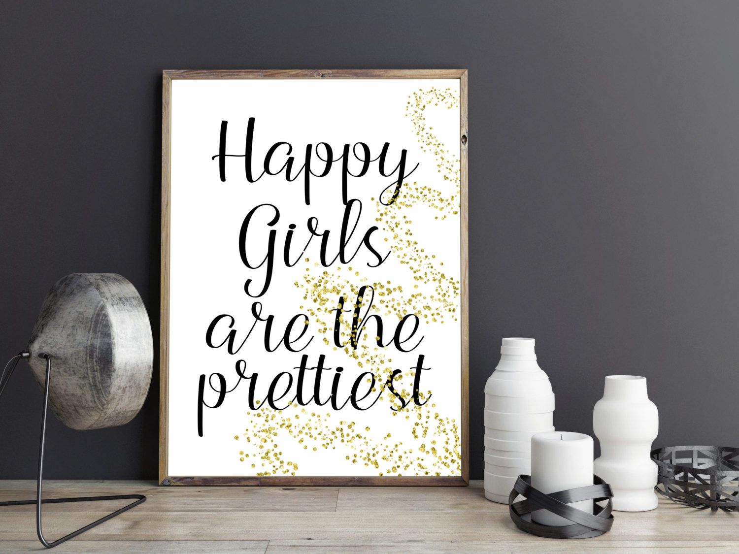 Bedroom wall art quotes - Printable Art Happy Girls Are The Prettiest Print Printable Quote Wall Art Home