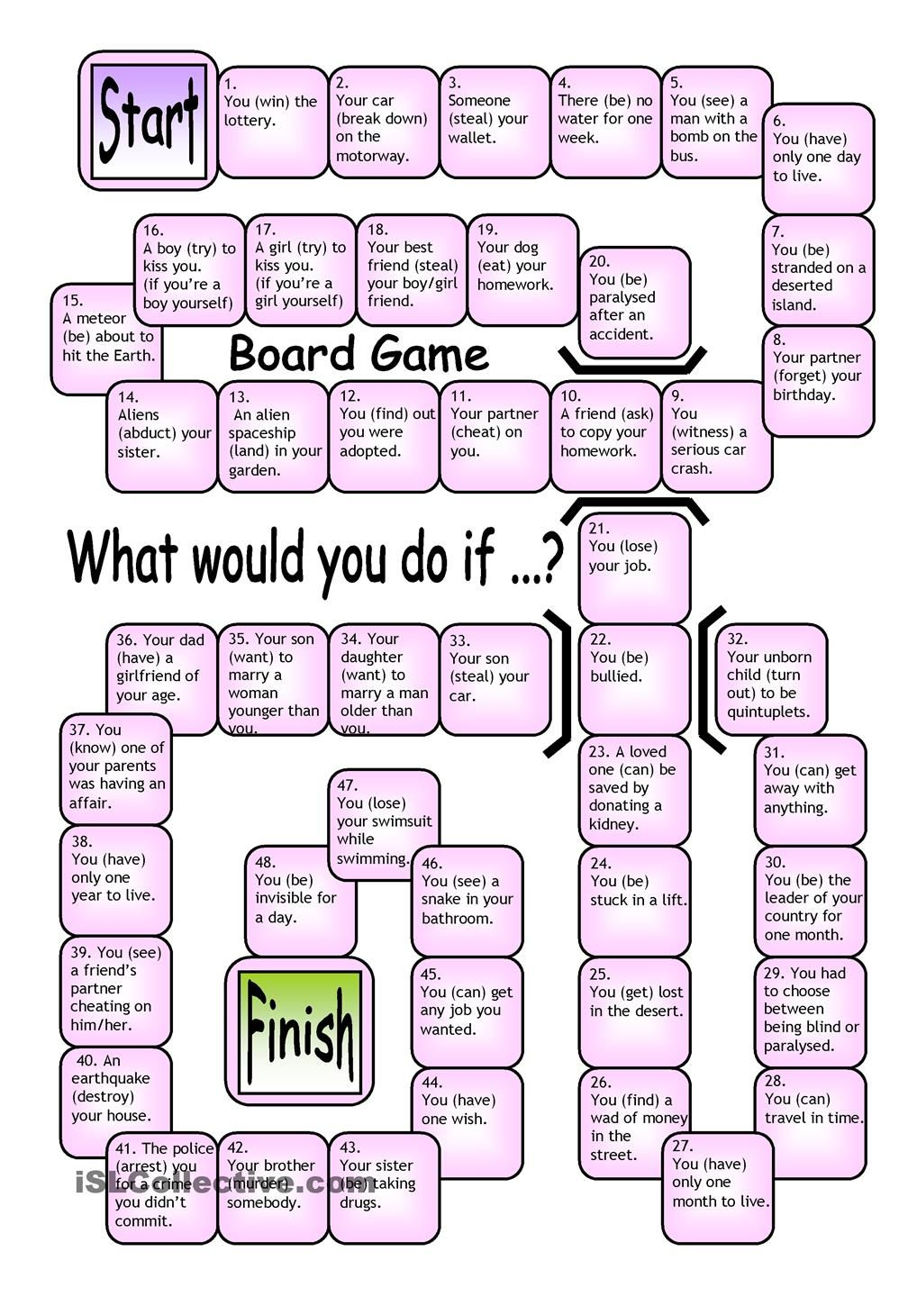 Board Game What Would You Do If Board Games Grammar Games