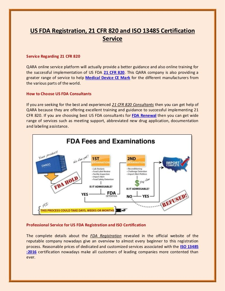 US FDA Registration, 21 CFR 820 and ISO 13485