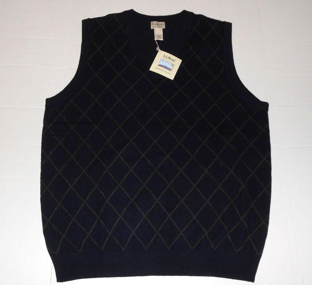 LL BEAN NWT Mens Dark Blue Diamond Lambswool Sweater Vest XXL Tall ...