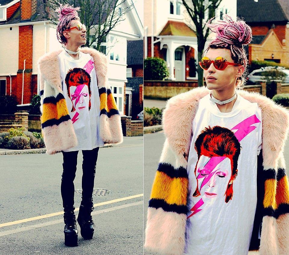 Milex X - Topshop Fur, Truffleshuffle T Shirt, Zara Jeans, Buffalo Boots - BOWIE TRIBUTE