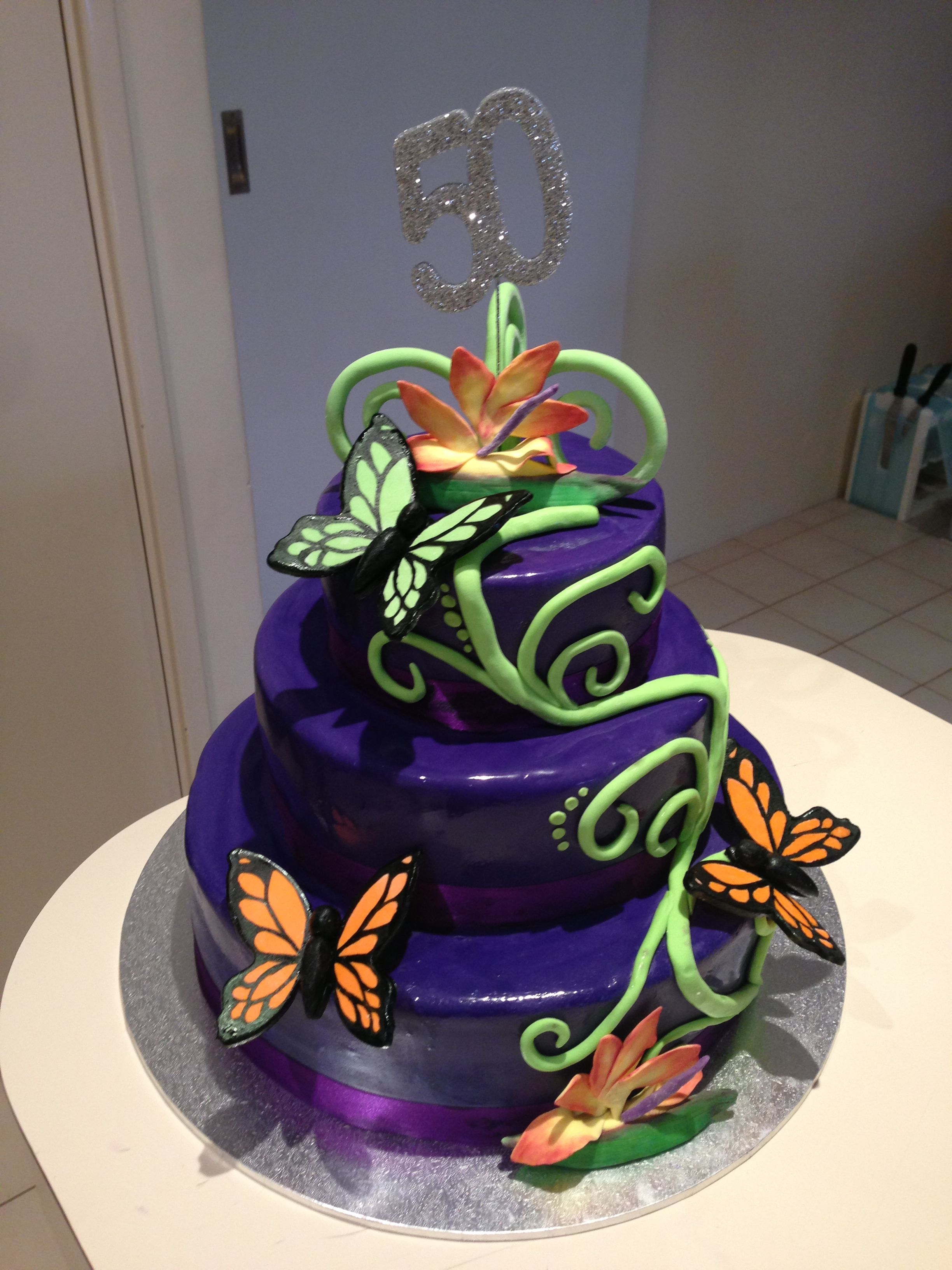 Enjoyable Purple Butterfly Themed 50Th Birthday Cake With Images Funny Birthday Cards Online Overcheapnameinfo