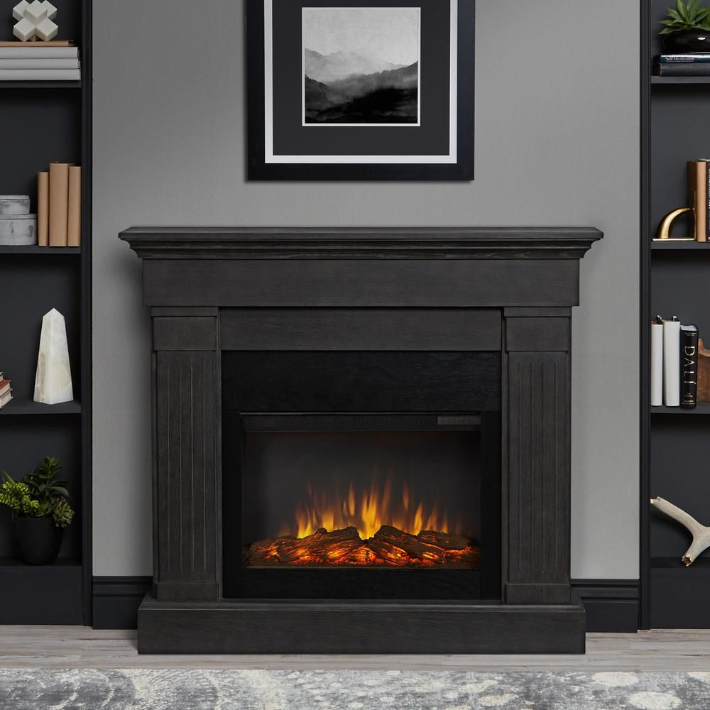 Real Flame Crawford Slimline 47 In Freestanding Electric Fireplace In Gray 8020e Gry The Home Depot Electric Fireplace With Mantel Grey Fireplace Electric Fireplace