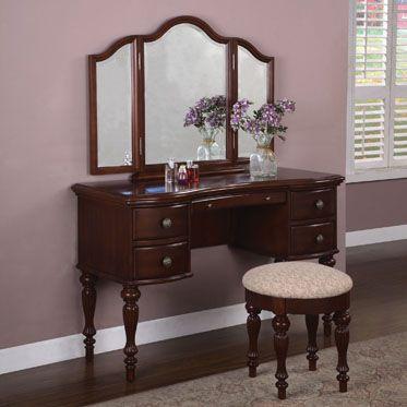 Marquis Cherry Beige Wood MDF Vanity Mirror Bench Vanity Set