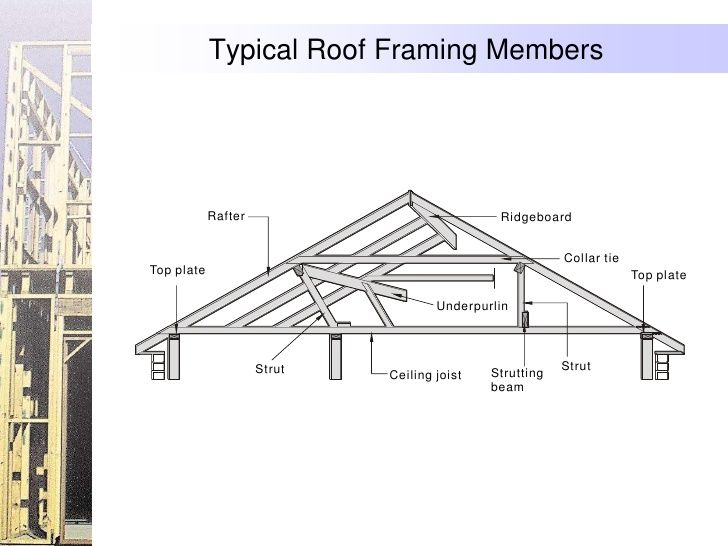 Typical roof framing members rafter ridgeboard for Ceiling joist dimensions