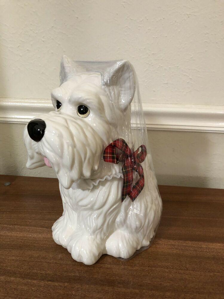 White Scottie Dog Cookie Jar 12 Sleigh Bell Bistro Condition Is