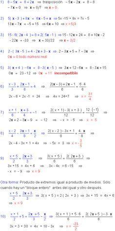 Ecuaciones Primer Grado Studying Math Printable Math Worksheets Math Formulas