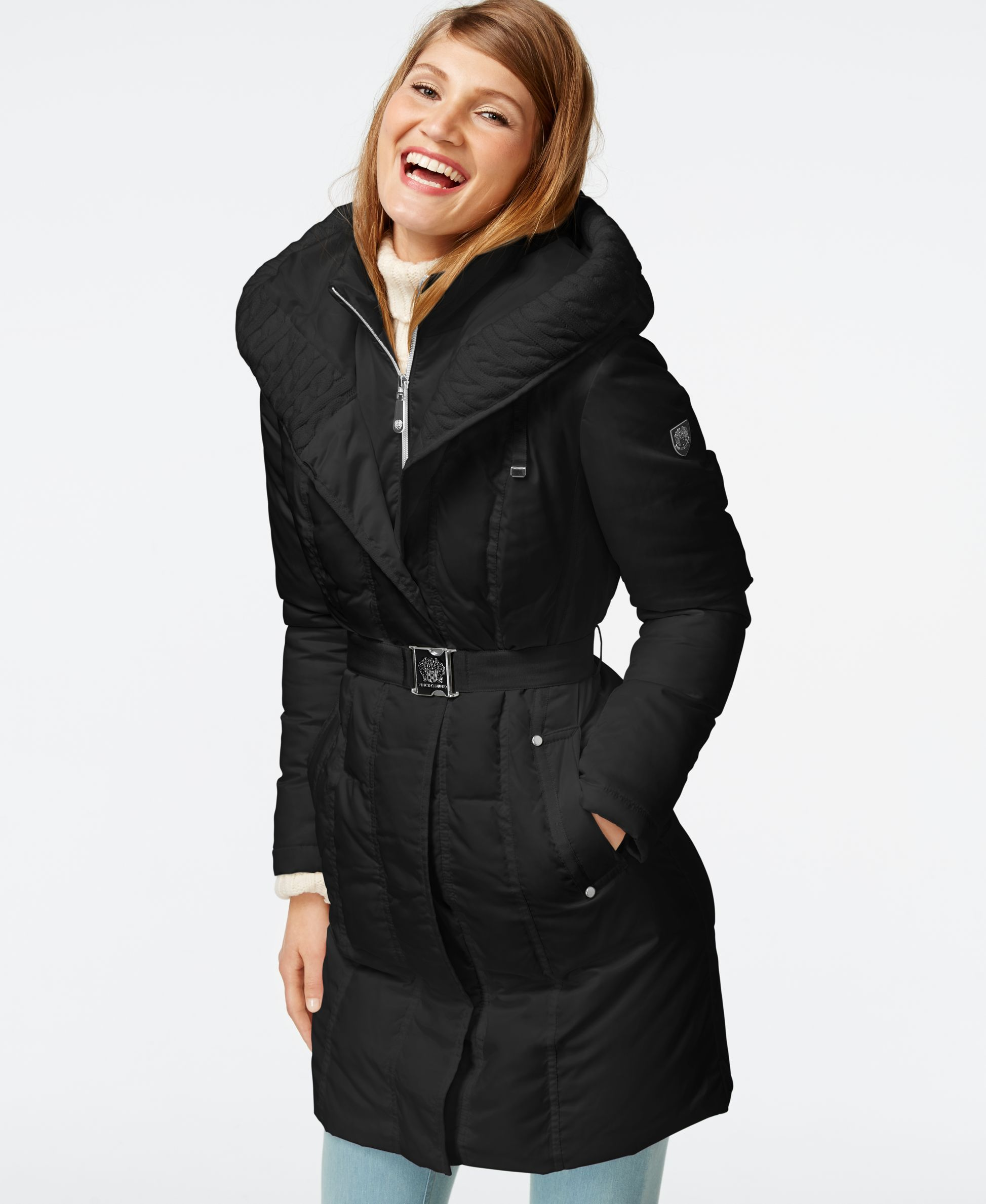 Vince Camuto Cable Knit Trim Down Puffer Coat Coats Women Macy S Down Puffer Coat Puffer Coat Coat [ 2378 x 1947 Pixel ]