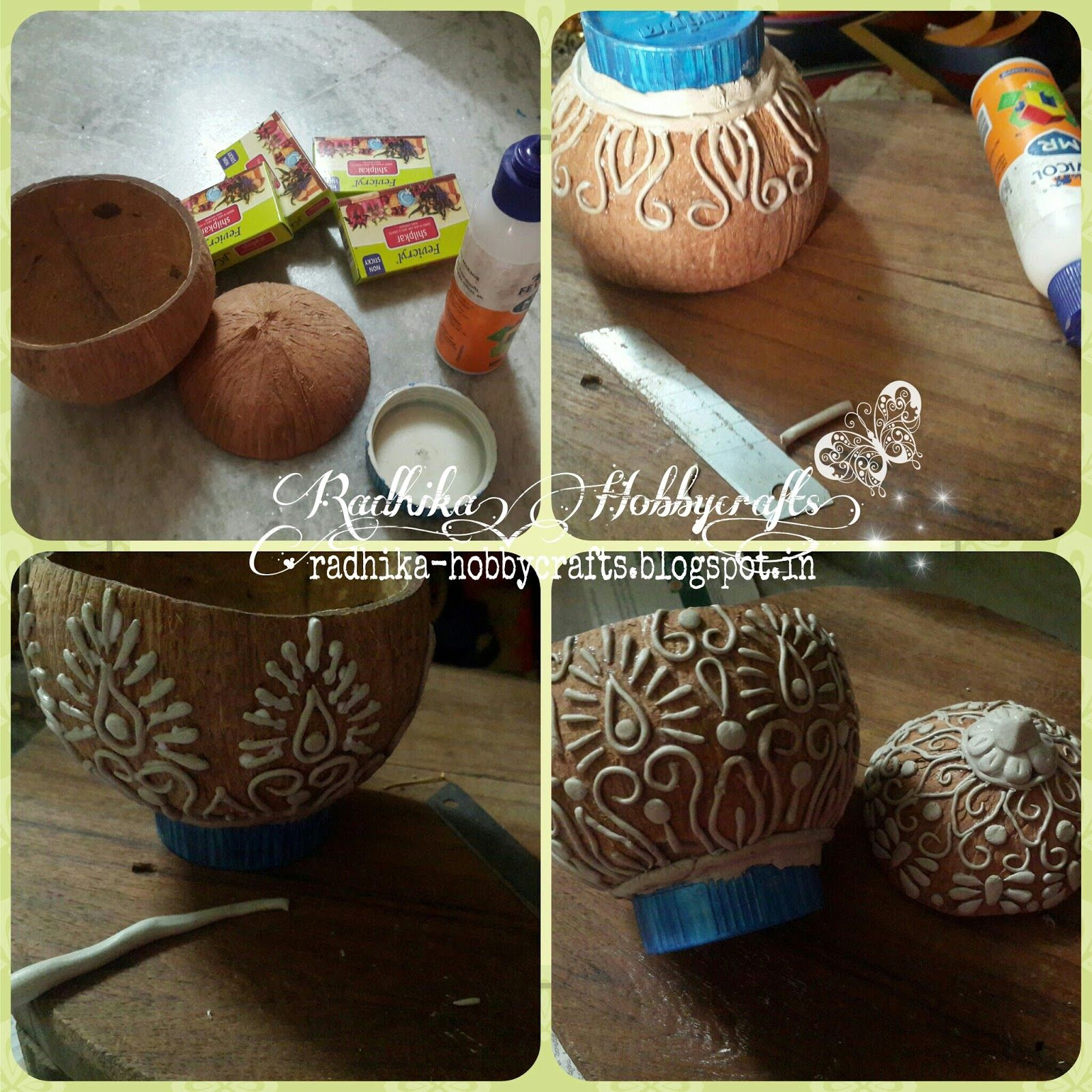 Hobby crafts coconut shell box radhika hobbycrafts for Diy shell crafts