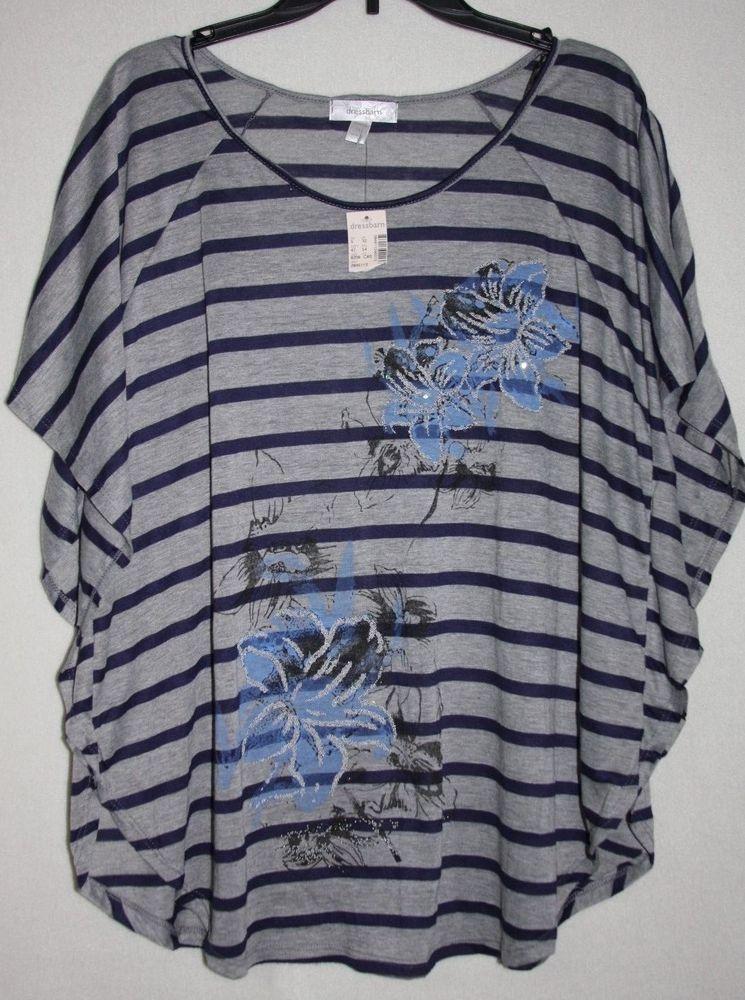 f5c98a24 NWT Dress Barn 1X Blue Grey Striped Floral Beaded Poncho Top #Dressbarn # Blouse #trendy #plussize #fashion #shopping