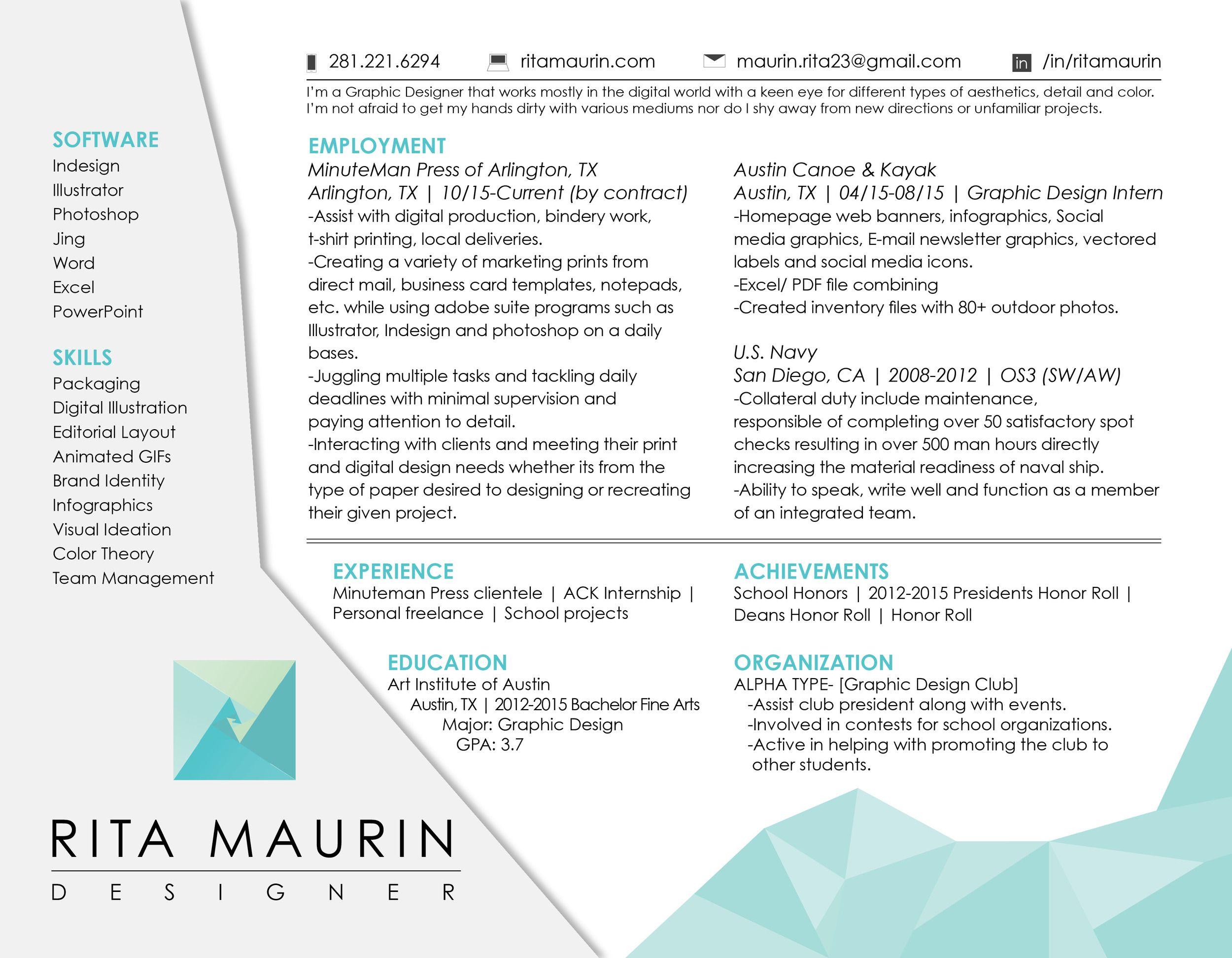 Horizontal resume graphic design graphic design resume
