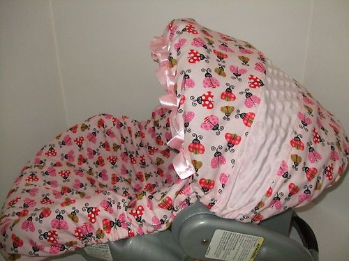 NEW CUITE SOFT PINK LADYBUG/MINKY/SATIN RUFFLE INFANT CAR SEAT COVER