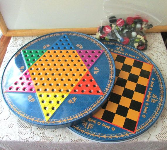 1980s Board Games Chinese Checkers Metal 1980s Tin Game Boards Marbles And Chess Pieces Chinese Checkers Checkers Game Pieces
