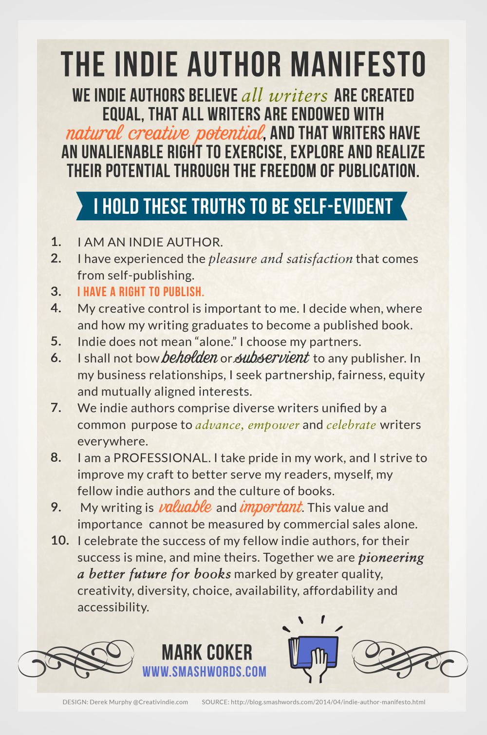 Indie Author Manifesto  Indie Author Principles Smashwords
