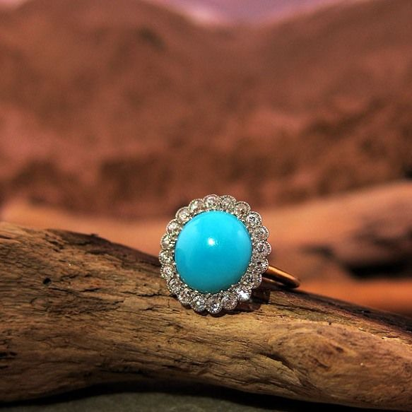 Victorian Vintage Turquoise and Diamond Ring