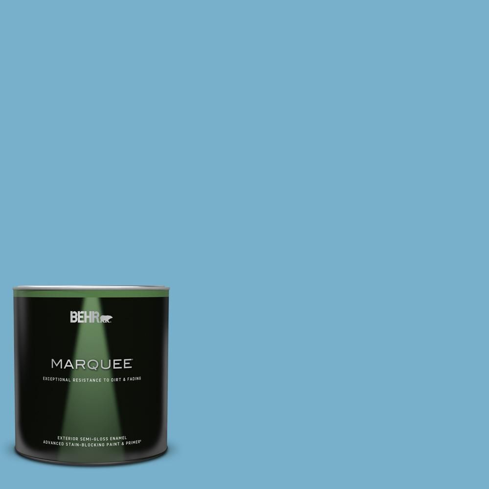 Behr Marquee 1 Qt 550d 5 Ocean Cruise Semi Gloss Enamel Exterior Paint Primer 545404 The Home Depot In 2021