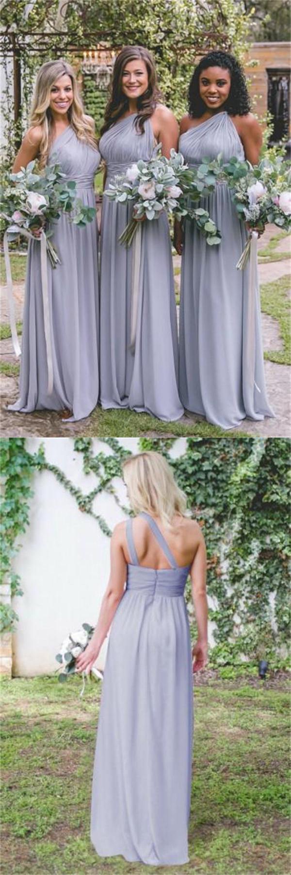12a60899580 One Shoulder Long Chiffon A-line Open Back Simple Elegant Bridesmaid ...