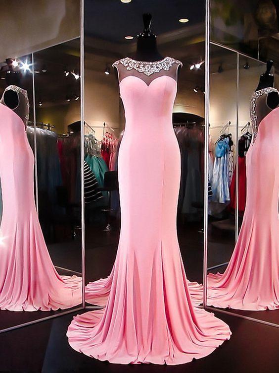 Charming Mermaid Evening Dress, Pink Long Prom Dresses, | Vestidos ...