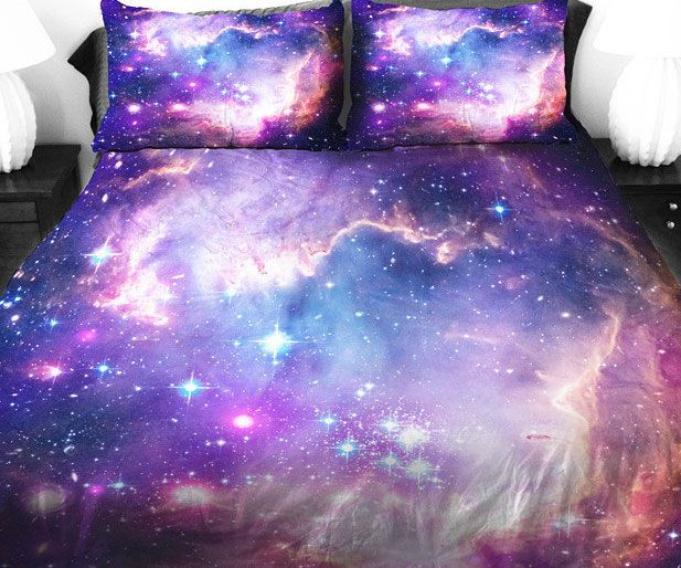 Oh my God i need these!!!! Go on an out of this world mission to dreamland by sleeping in the purple galaxy bed covers. These lovely satin covers showcase a mesmerizing image of our vast cosmos with amazing detail and artistry that will captivate your imagination.