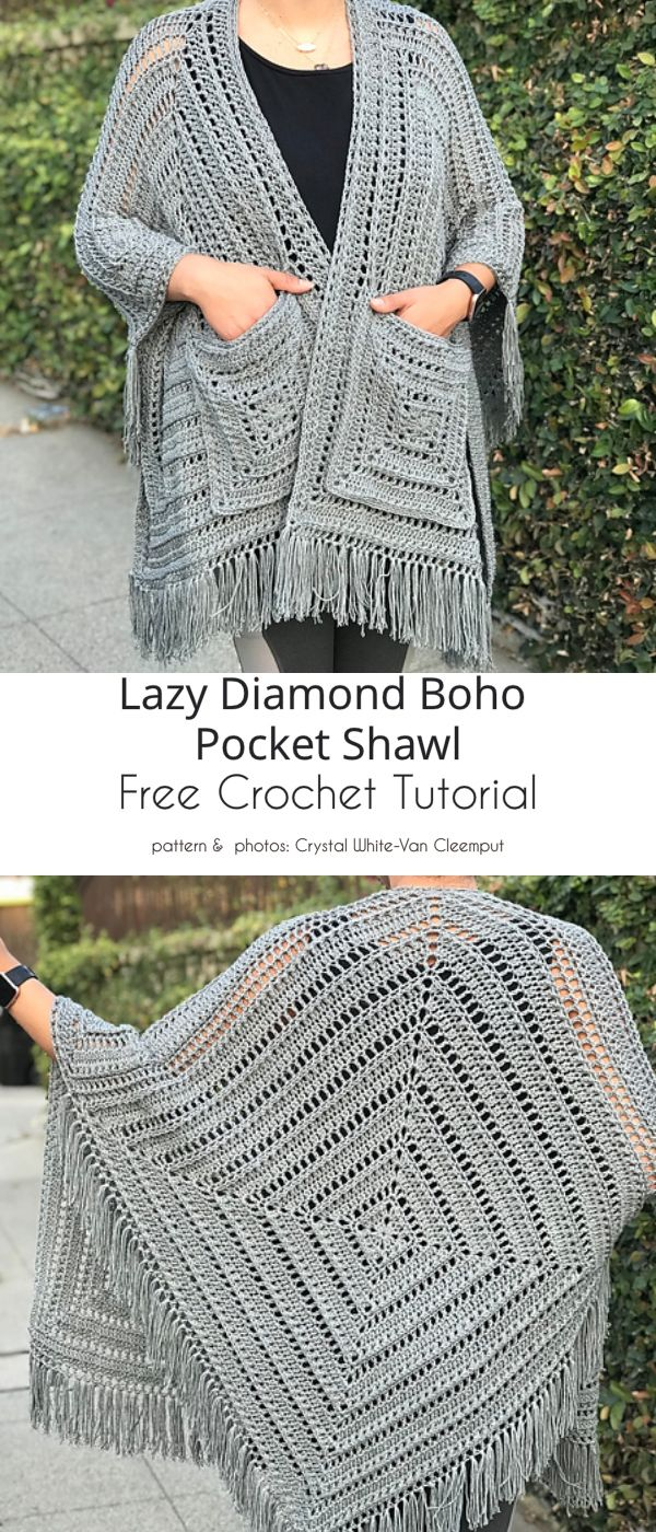 Pockets Shawl Top Free Crochet Patterns