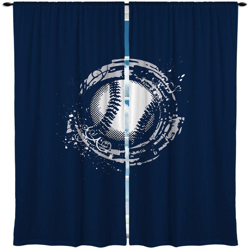 Baseball Theme Window Curtain Thedezineshop Baseball Themed Bedroom Baseball Curtains Boys Room Decor