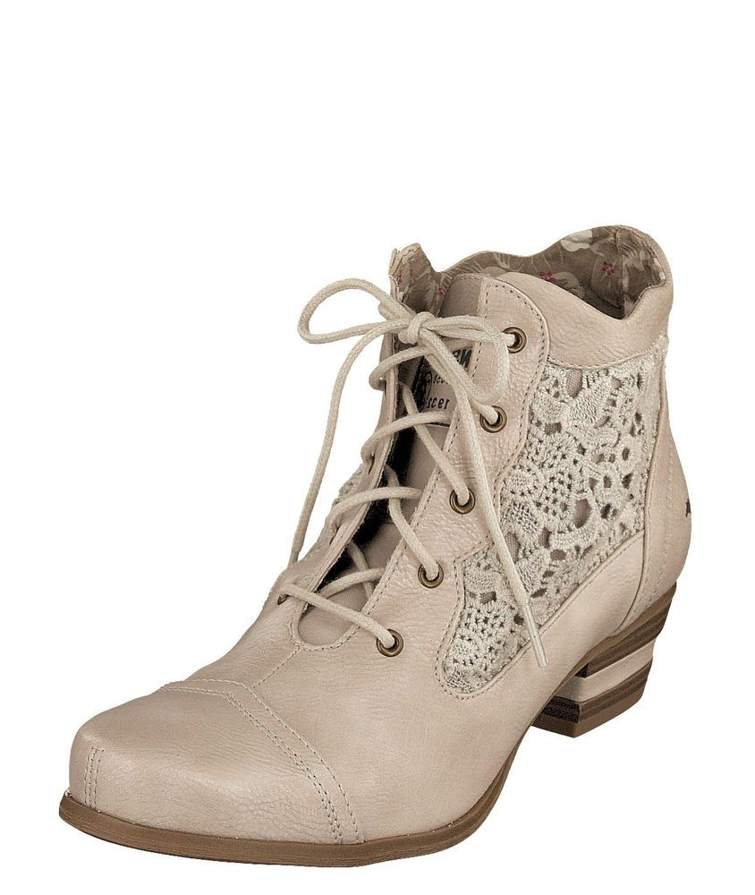 cab82f43f9d09 Mustang NEW 1187 501 ice beige crochet floral lace up ankle boots sizes 3 8