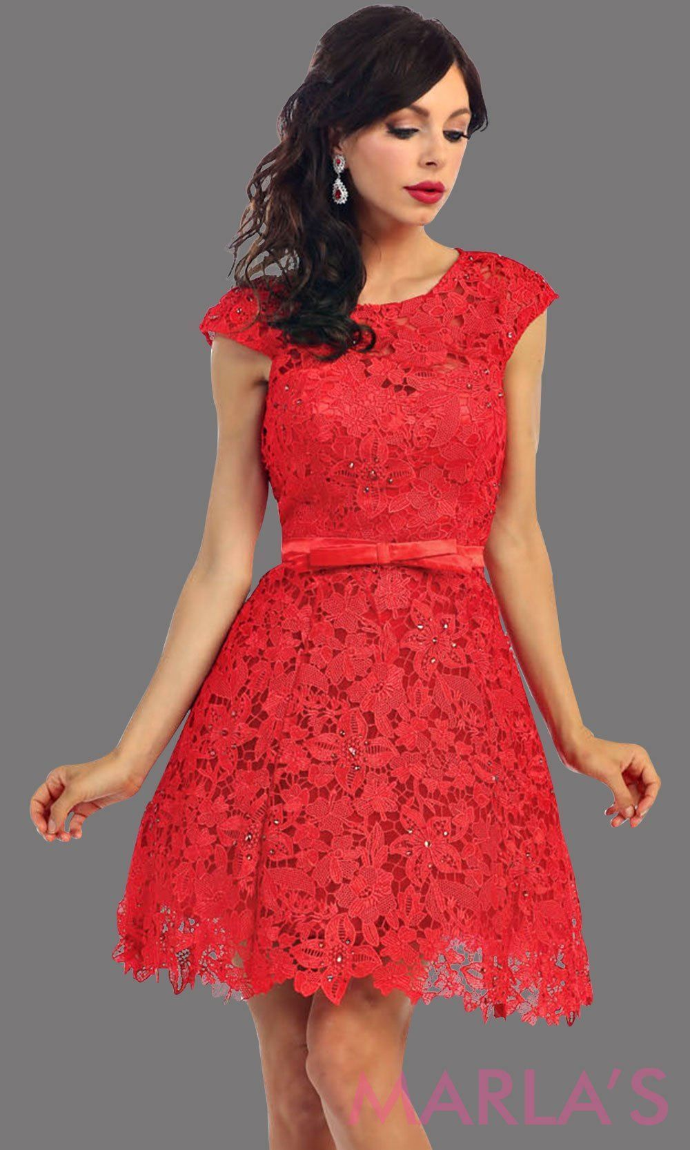 3103fad708e Short red lace high neck dress with a satin bow. This red dress has a flowy  a line skirt. Its perfect for grade 8 graduation dress