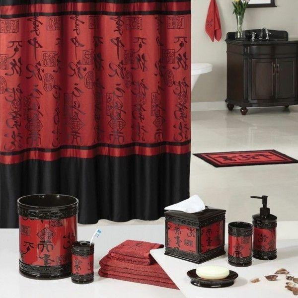 Badezimmerdesign In Rot Und Schwarz