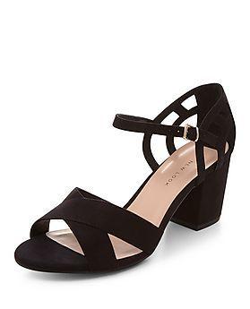 417c5dba89fe Wide Fit Black Suedette Cross Strap Block Heels
