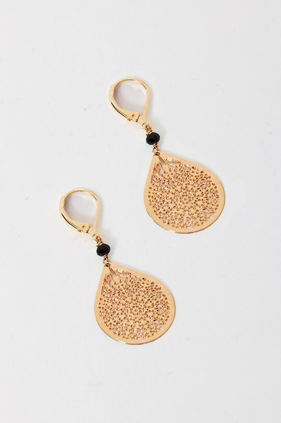 Fine Gold Earrings Featuring A Lace Design And Black Pearl Embellishment From Sienna With Love