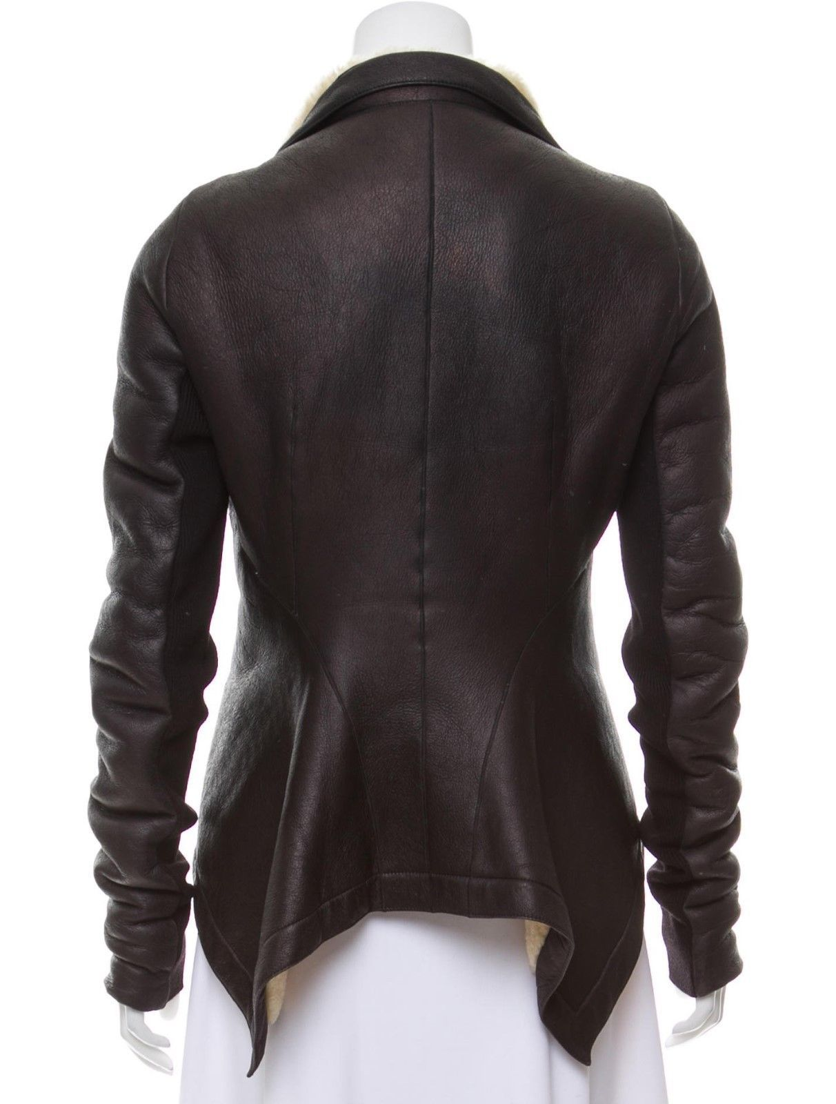 Rick Owens asymetric shearling leather moto jacket size M