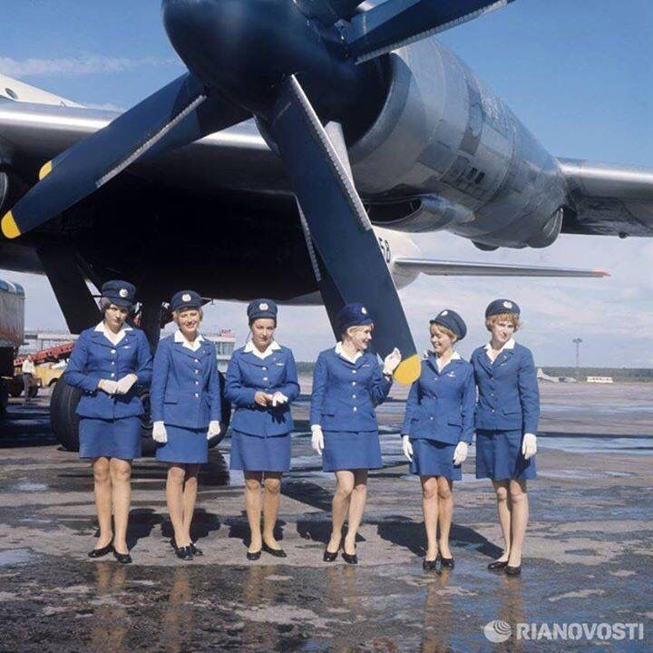Aeroflot Tupolev Tu114 and cabin crew