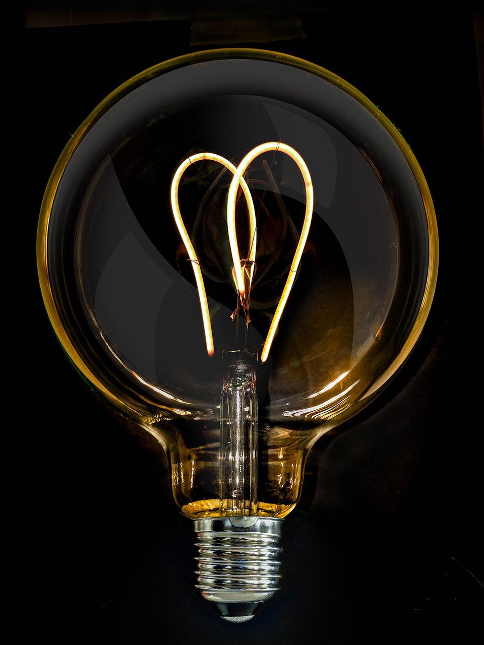 6 watt edison dimmable long filament led bulb e27 2200k edison 5 watt vintage g125 amber glass twin loop led filament bulb e27 parisarafo Gallery