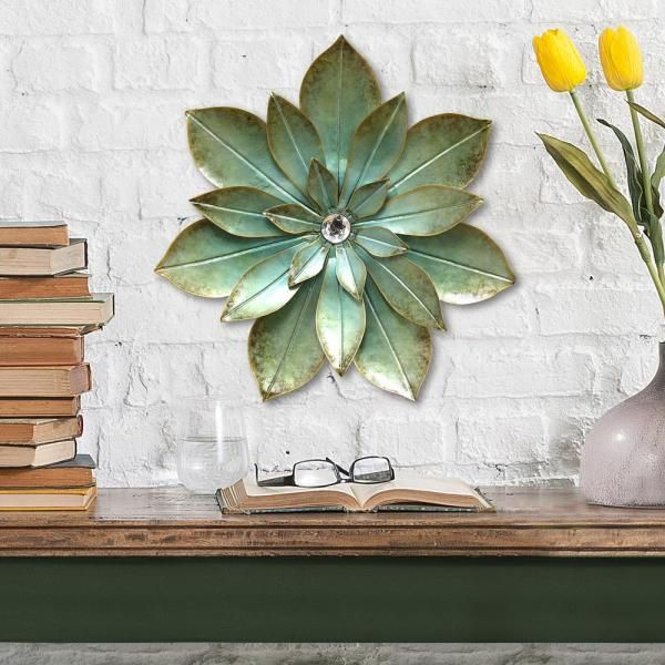 Stratton Home Decor Green Embellished Metal Flower Wall Decor