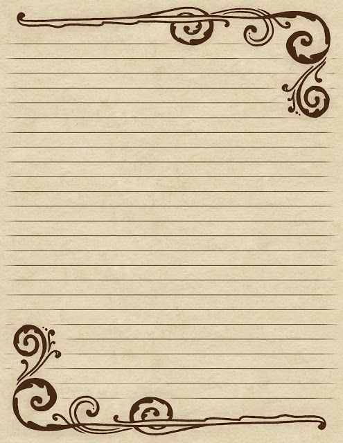 Lined paper with a Victorian-inspired ~ brown ~ swirl border - printing on lined paper