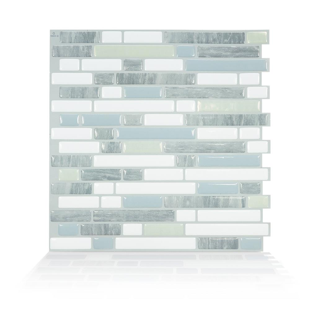 Smart Tiles Bellagio Costa 10 06 In W X 10 00 In H Peel And Stick Self Adhesive Decorative Mosaic Wall Tile Backsplash 4 Pack Sm1118g 04 Qg The Home Depot Smart Tiles Stick On Tiles Mosaic