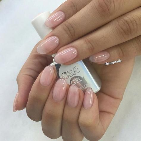 Get The Natural Look Sculptured Almonds With Sheer Pink Gel Polish From Colorclubnaillacquer Shor Natural Looking Acrylic Nails Sheer Nails Clear Gel Nails