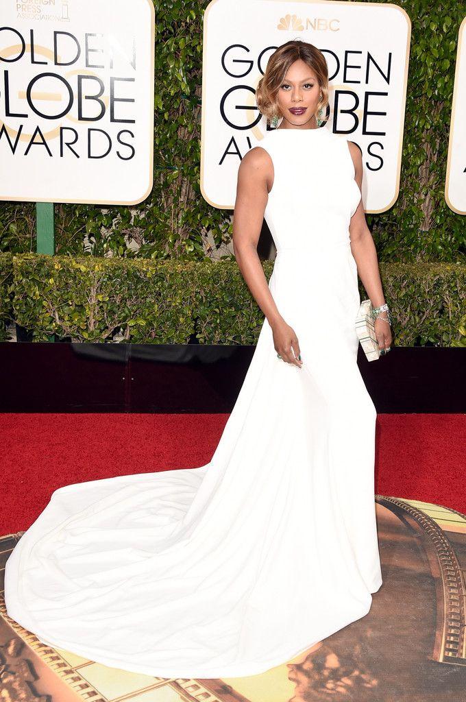 Fabulously Spotted: Laverne Cox Wearing Elizabeth Kennedy - 2016 Golden Globe Awards - http://www.becauseiamfabulous.com/2016/01/10/laverne-cox-wearing-elizabeth-kennedy-2016-golden-globe-awards/