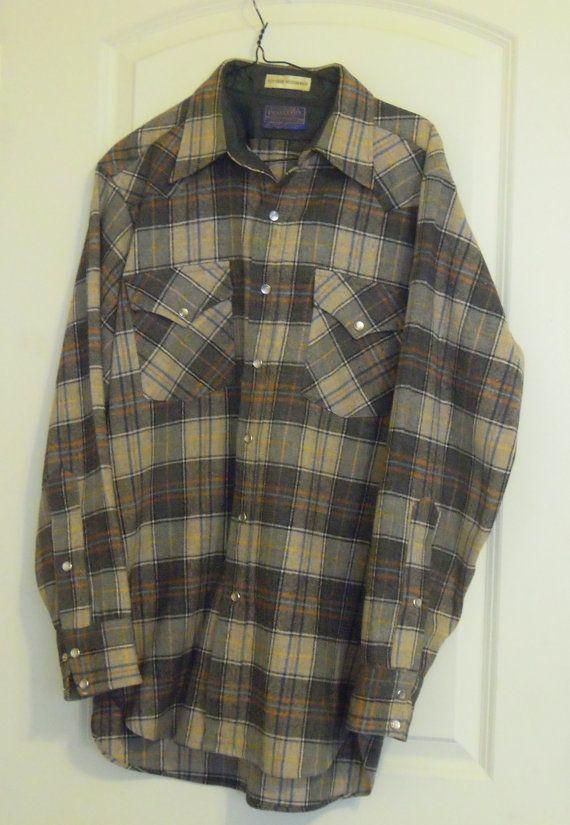 79c9563f Vintage Pendleton Shirt Mens 1960 Western Plaid Wool Size Medium Cowboy  Counrty Pearl Buttons
