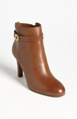 $395 Tory Burch Brita Almond Brown Leather Ankle Bootie Boot Shoes Sz 7 5 M | eBay
