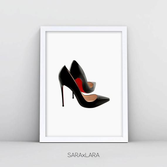 bfba7a98abaf Louboutin Wall Art Fashion Art Print Christian Louboutin Shoes Poster  Fashion Shoes Print Red High H