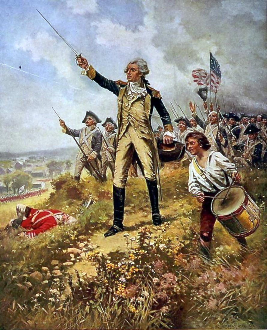lafayette leading the continental army at the battle of brandywine