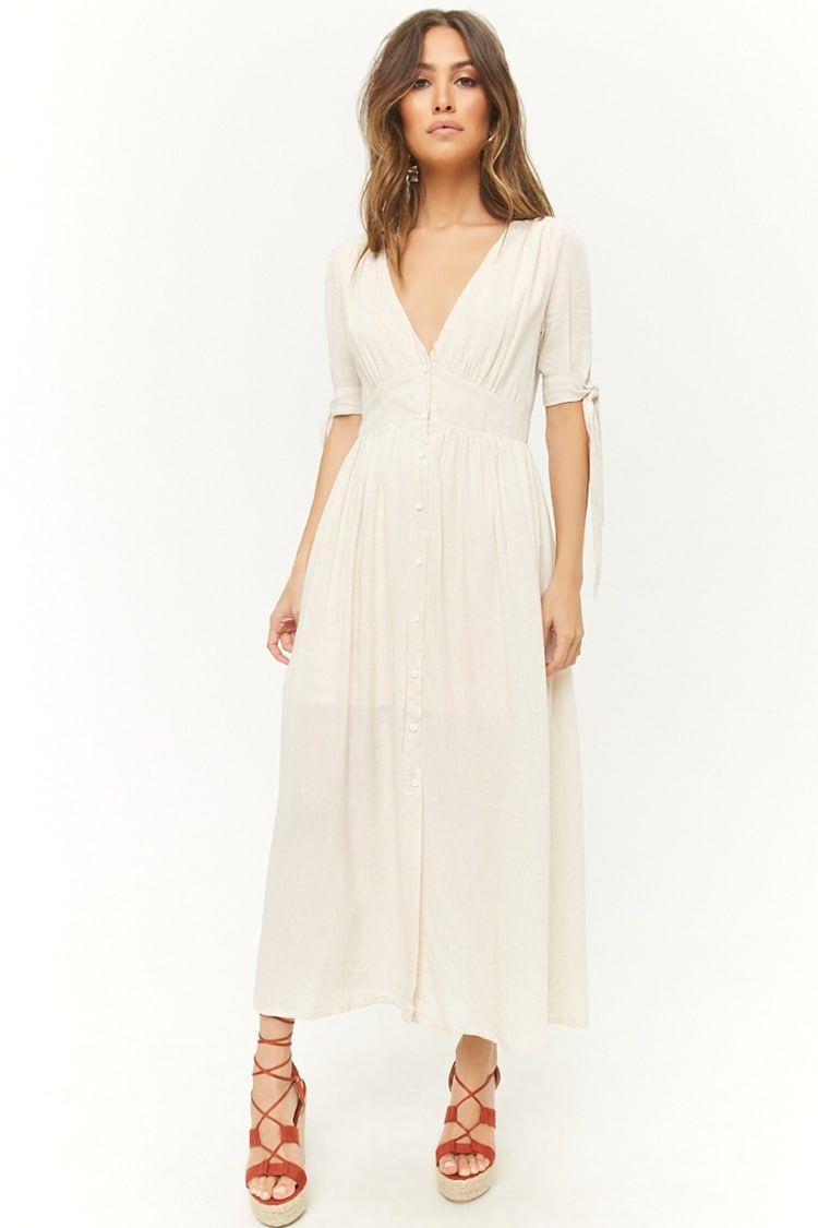 Woven Button Front Maxi Dress Tan Maxi Dress With Sleeves Maxi Dress White Maxi Dresses [ 1125 x 750 Pixel ]