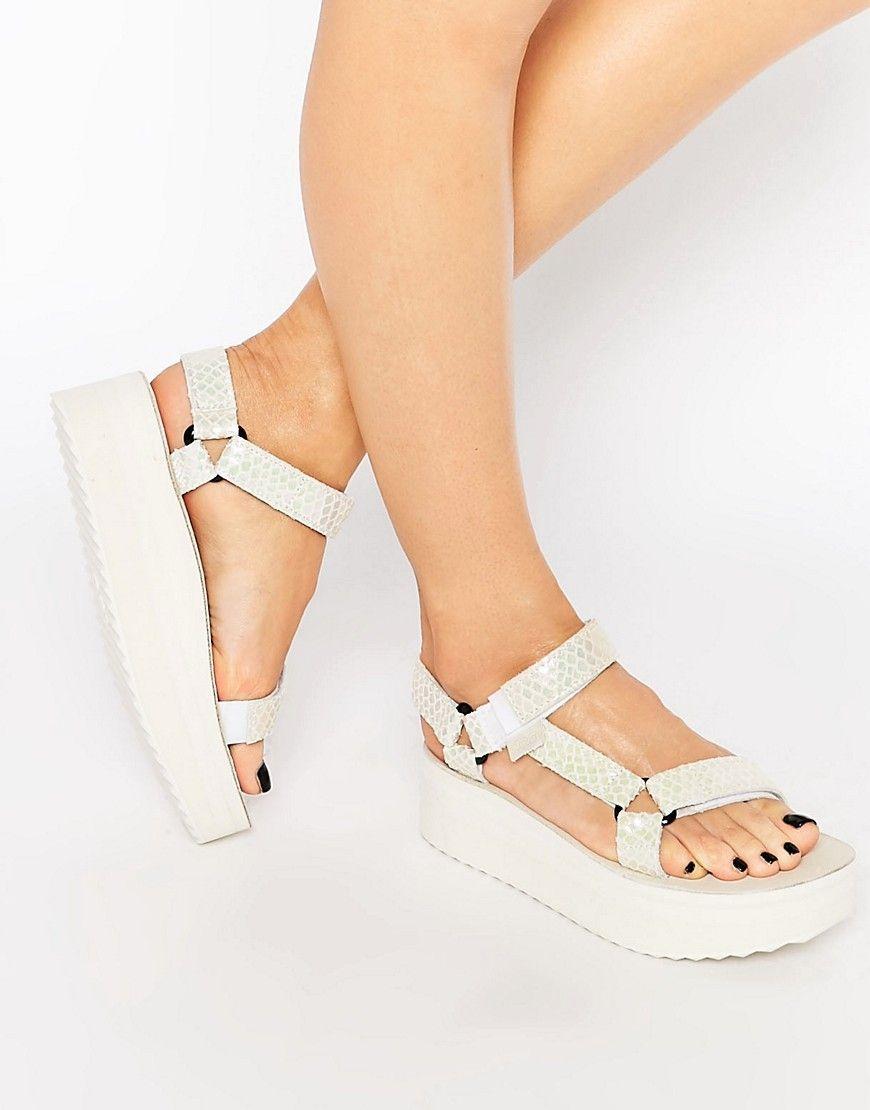 d621e2b9c Image 1 of Teva Flatform Universal White Iridescent Sandals